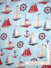 Nautical Sailboat Ship Boat Lt Blue Cotton Fabric Robert Kaufman Down Sea Yard