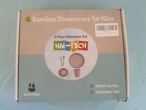 5-Piece Set Bamboo Dinnerware for Kids HM-Tech Plate Bowl Cup Spoon Fork Gray