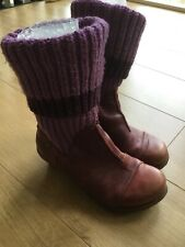 EL NATURALISTA BURGUNDY LEATHER BOOTS, KNITTED TOP, UK 6, EU 39, £130