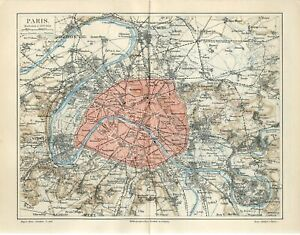 1896 FRANCE PARIS CITY PLAN and SUBURBS Antique Map dated