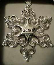 2019 Dated Sparkling Silver Snowflake Christmas Ornament~European Crystals~Nib