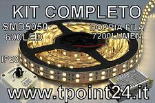 KIT STRISCIA LED DOPPIA FILA SMD5050/600LED BIANCA CALDA + DIMMER POTENZIOMETRO