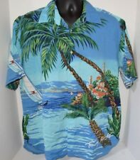 Authentic Tommy Hilfiger Spell Out Sailing Palms Logo Hawaiian Shirt Mens L