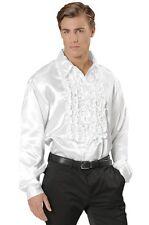 "White Satin 70's 80's Ruffle Disco Shirt Fancy Dress Costume XL 48"" Chest"