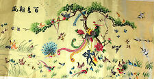 Antique Chinese Silk Embroidered 100 Birds Vintage Art 100% Handmade 3.5Ft Wide