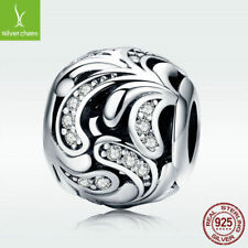 Latest 925 Sterling Silver Hollow Charm White CZ Bead For Bracelet Chain Jewelry
