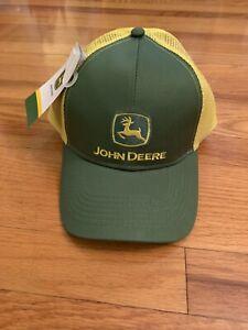 John Deere Hat Mesh SnapBack Trucker Cap With Tags Mesh Back Green & Yellow