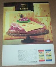 1966 ad page - Kraft Foods Cheese sandwich -the not to be missed Swiss- print AD