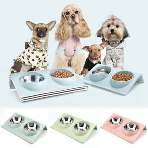 Double Bowl Raised Stand For Cat Pet Dog Puppy Non-Slip Splash Feeder Food Bowl.