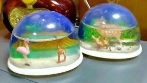 Vintage 1970's Plastic Snow Globes X 2