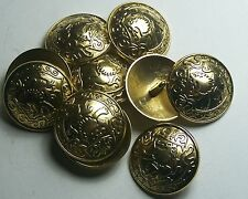 Pack of 8 19mm Scottish Inspired Rampant Lion Gold Military Style Button 2028