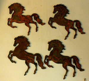 Lot of 4 Prancing Horses 4 inch Rough Rusty Vintage Metal Art Ornament DIY Sign