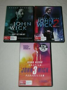 John Wick Chapters 1, 2, 3 - Keanu Reeves - VGC - Region 4 - DVD - Lot