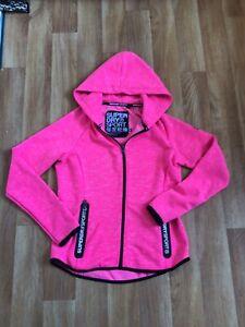 Superdry Ladies Pink Zip up Hooded Sweatshirt Sports Running UK S