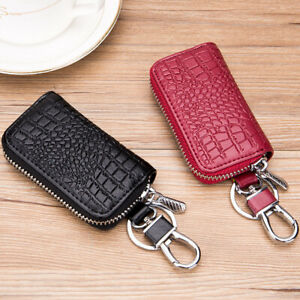 Real Leather Car Key Case Holder Bag with Key Chain Metal Hook for Men Women