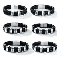 Personalized Engraving Men Braided Leather ID Initials Bracelet Family Nameplate