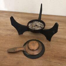 Vintage Le Creuset Cast Iron 3 Prong Burner Stand For Fondue Pot w/ Cover France
