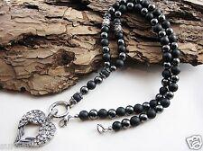 Halbedelstein Halskette Onyx Edelstahl Anhänger Flügel Kette Handmade Rosenkranz