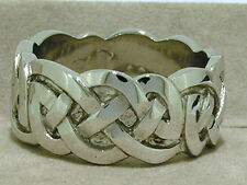 MR30 X-HEAVY Thick Wide Genuine 9ct Solid White  GOLD Keltic Celtic RING size 10
