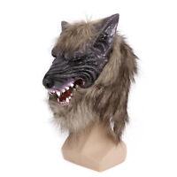 Creepy Latex Cosplay Halloween Wolf Head Mask Animal Party Costume Theater Prop