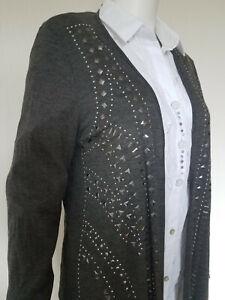 COMMA neuwertige Shirtjacke Gr. 42 grau Viskose Zipfel Jacke Strick Cardigan