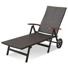 77'' x 30'' x 20.5'' Folding Rattan Adjustable Recliner Lounge Chair Seats US