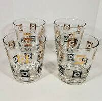 Vintage Set of 4 Black & Gold Design Whiskey Bourbon Glasses Barware