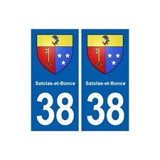 38 Satolas-et-Bonce blason ville autocollant plaque stickers droits