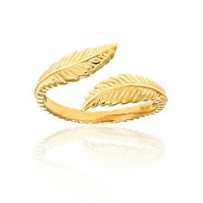 10k Yellow Gold Leaf Cross Over Adjustable Ring or Toe Ring