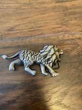 Silver Colored Lion Belt Buckle Pewter Look Angry
