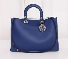 CHRISTIAN DIOR Large DIORISSIMO Blue Two-Tone Leather Shopper Tote Handbag NEW