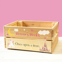 Personalised Wooden Story Book Box For Kids GIRL Unicorn Childrens Crate Gift