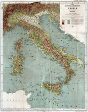 CARTA ALTIMETRICA E BAROMETRICA D'ITALIA. Centimetri 58x73. Cromolitografia.1889