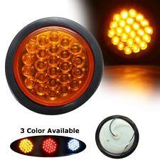 Car Truck Trailer 24 LED Round Reflector Rear Tail Brake Stop Marker Light Amber