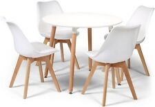 Toulouse Tulip Eiffel Style Dining Set 90cms Round White Table & 4 White Chairs
