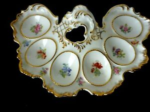 Unusual And Very Decorative Porcelain Egg Plate Server For Six Eggs