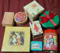 Tin Lot 8 Christmas sewing vintage/inspired? gift box jewelry art storage decor