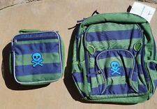 "POTTERY BARN KIDS ~ ""SKULL"" FAIRFAX DARK GREEN/NAVY STRIPE BACKPACK + LUNCH BAG"