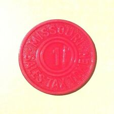 Missouri 1 Sales Tax Token Plastic RED