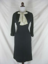 Vtg 50s 60s Blue Womens Vintage Polka Dot Cocktail Party Dress W 28