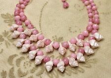 "Vintage Japan Pastel Pink Faux Shell Spring Bead Collar Necklace 17"" long"