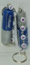 2 BON BONS Bari Flavored Lip Gloss With LOVE Beaded Key Chain BLUEBERRY Sealed