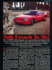 1989 Renault Alpine GTA Turbo Original Car Review Print Article J656