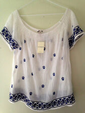 NWT Lucky Brand Cotton Sheer White Knit Boatneck Airy Embroidered Top L $90