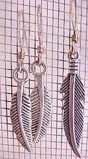 Silver Charm Earrings Curved Feathers Minimalist Tween Girl Gift Quik Free Ship