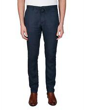 Gant Men's Relaxed Navy Blue Linen Chino Size: 40 x 34