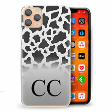 Personalised Initial Phone Case, Animal Print/Black & White Cow Print Hard Cover