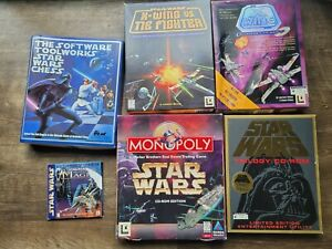 PC Big Box CD-ROM Game Star Wars: X-Wing tie fighter chess archives monopoly lot