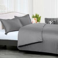 100% Cotton 2-3 Pieces Duvet Cover Set + Pillow Shams 300TC Solid Ultra Soft Set