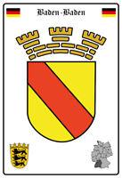 Baden Baden Deutschland Wappen Blechschild Schild gewölbt Tin Sign 20 x 30 cm